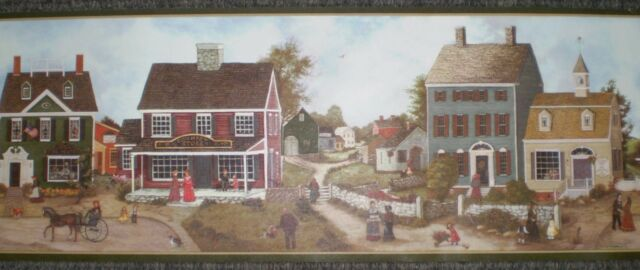Green Country Rural Scene with Houses /& People by International  DC5015B