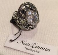 Noa Zuman Israel Nature Floral Rose Clear Stone Sterling Silver Flower Ring 8