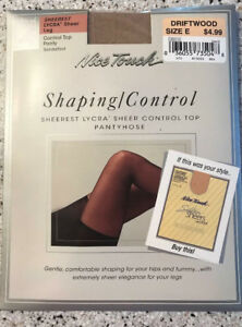 7f745c2cc NICE TOUCH Shaping control Lycra Sheer Control Top Pantyhose Size E ...