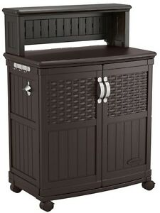 Patio Bar Serving Cart Storage Cooking Prep Station Wicker Backyard BBQ Party