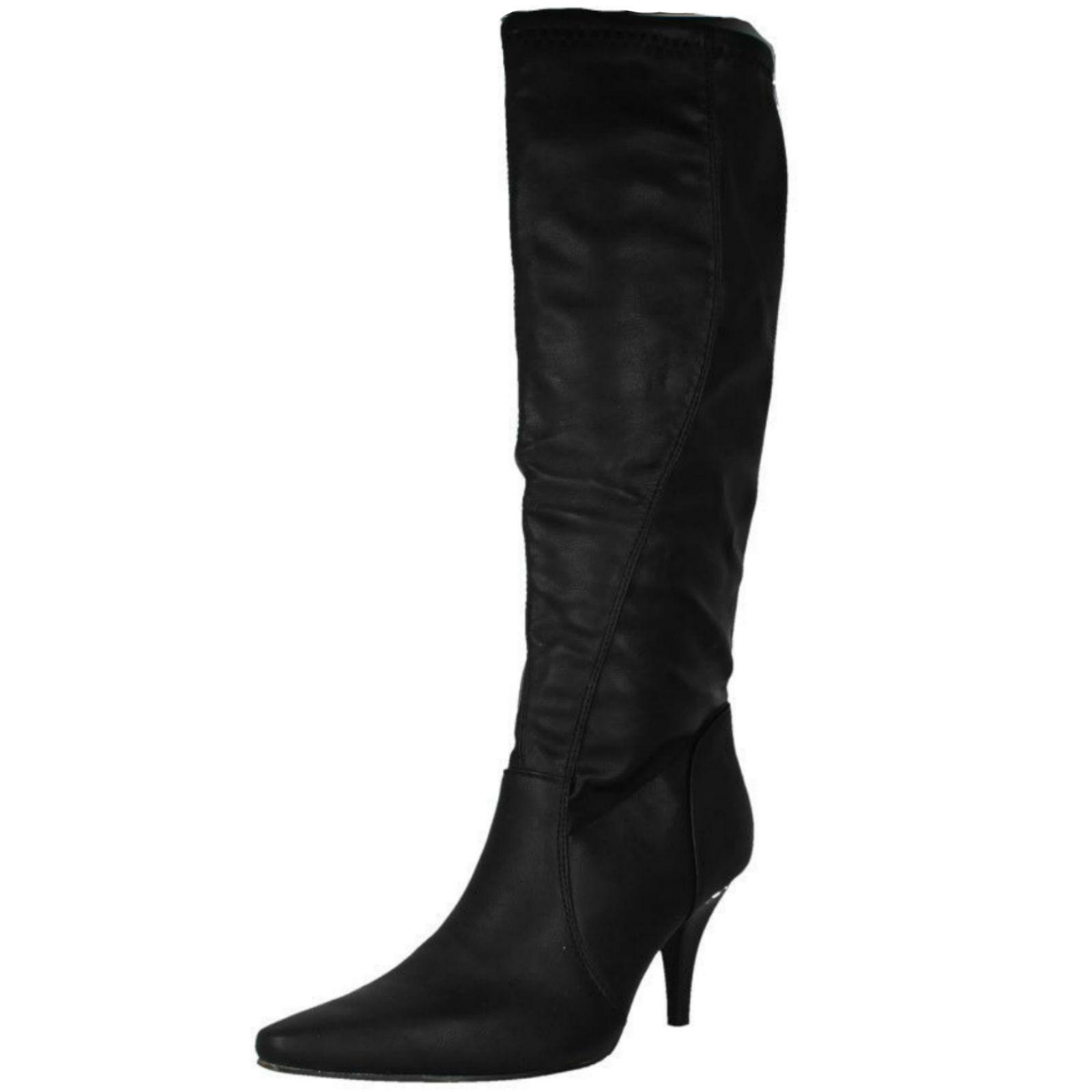 LADIES SPOT ON ZIP POINTED TOE OFFICE SMART SLIM HEEL LONG WINTER BOOTS F5684