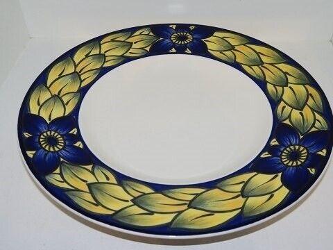 Porcelæn, Blå Fasan  Rundt fad med bred kant 28 cm., Blå