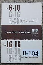Barber Colman No 6 And No 16 Operations Manual