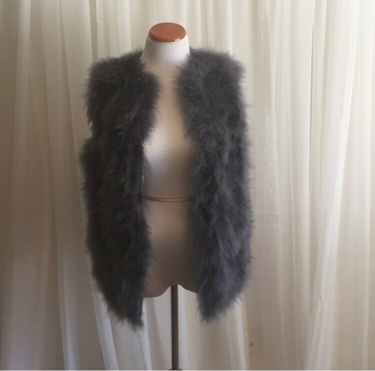 Ostrich Feather Vest, purple grey, Women's Size S, designer