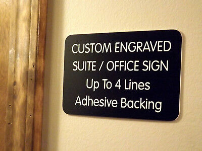 Adhesive Backed Personalized Name Plate Black Wall Door Plaque Custom Engraved 3x5 Office Sign