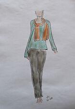 ORIGINAL MODEZEICHNUNG Modeskizze Damen fashion sketches 20-287
