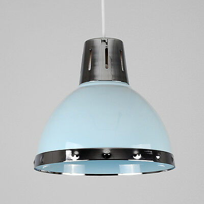 Modern Industrial Style Duck Egg Blue & Chrome Ceiling Pendant Light Shade Lamp