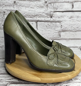 CL By Laundry Courtney Size 8.5 Women's Pumps Green Leather High Heel Shoes