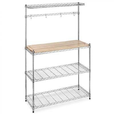 New Chrome Bakers Rack with Cutting Board and Storage Kitchen Work Station K60
