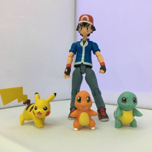 Moncolle Figma 052 Ash Ketchum/ Pikachu/Squirtle/Charmander Figure New In Box
