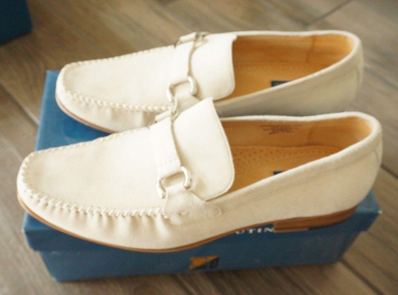 Giorgio Brutini 229334 Suede Bone Size 13 Medium Dress shoes Loafers Slip On
