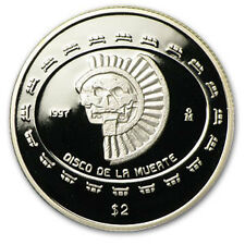 1997 1/2 oz Mexican Proof Silver Coin 2 Pesos Disco de la Muerte Skull Low Mint