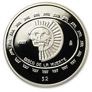 1997 1//2 oz Mexican Proof Silver Coin 2 Pesos Disco de la Muerte Skull Low Mint