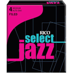 1-Box-of-10-Rico-Select-Jazz-Reeds-Alto-Saxophone-4-Medium-4M-Filed-RSF10ASX4M
