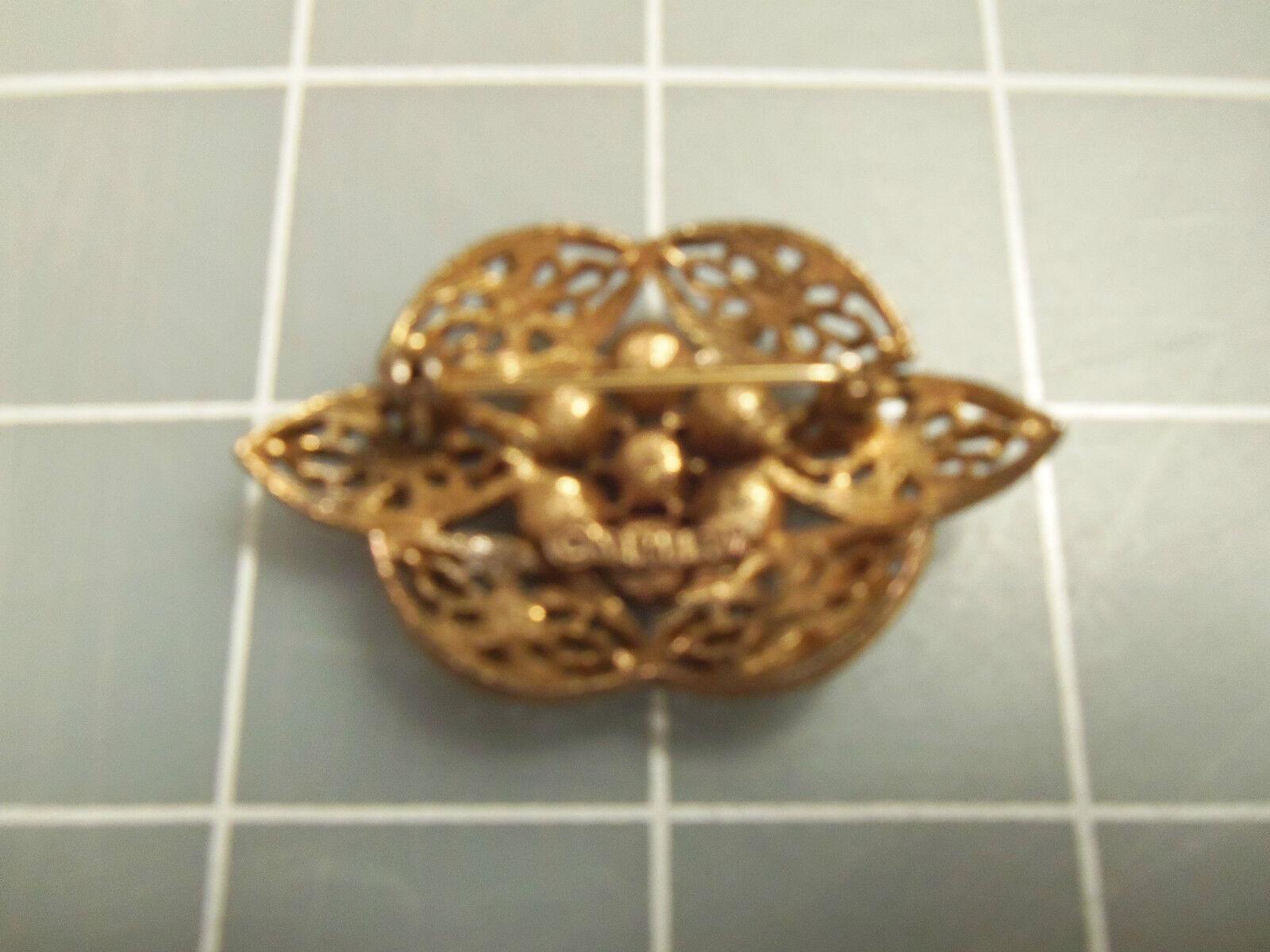INCREDIBLE Vintage Textured ORNATE Gold Rhineston… - image 2