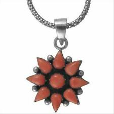 925 Silver Pink Coral Flower Pendant, 18""