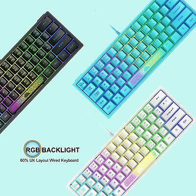 Details about  60% Compact UK Layout Wired Gaming Keyboard RGB Backlit For PC/Laptop/Computer