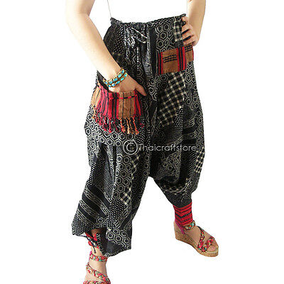 Harem Drop Crotch Bohemian Trousers/Pants Gypsy Men Women Hippie Hmong Baggy New