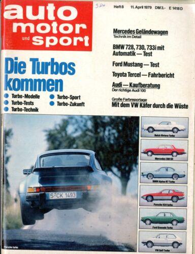 1979 AUTO MOTOR /& SPORT MAGAZIN BMW 728 FORD MUSTANG TOYOTA TERCEL AUDI