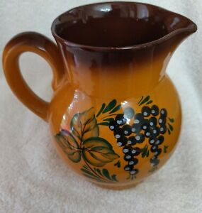 """Floral Pottery Pitcher 6.5"""" Brown Blue Green Tones 13  marked on bottom"""