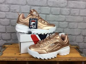 FILA-LADIES-UK-6-EU-39-5-DISRUPTOR-LI-ROSE-GOLD-METALLIC-TRAINERS-RRP-85