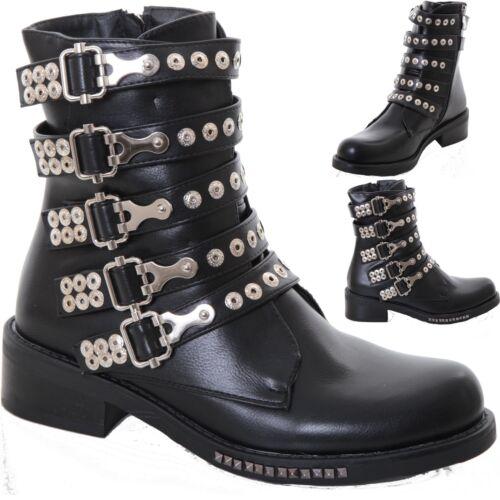 Ladies Chelsea Western Biker Buckle Studded Low Heel Faux Leather Ankle Boots