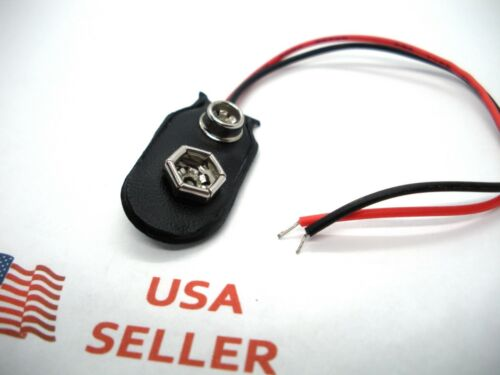 9 Volt Battery Connector Clip Snap On Plug 9V US Long 12cm Wire Leads