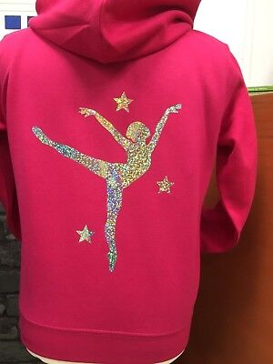 GYMNASTICS PERSONALISED SPARKLE PRINT ZOODIES BALLET DANCE SIZES 2-13 NEW