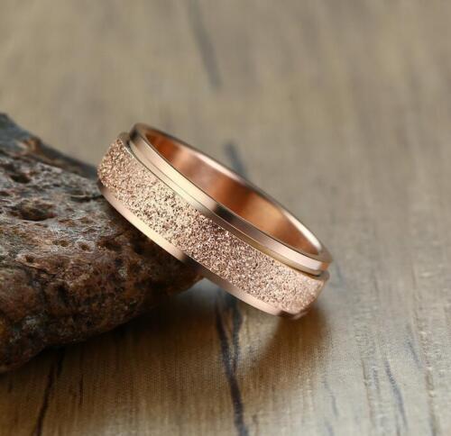 Fashion Hommes Femmes Dull Polish Spinner Ring en acier inoxydable bande 6 mm Taille 7-12
