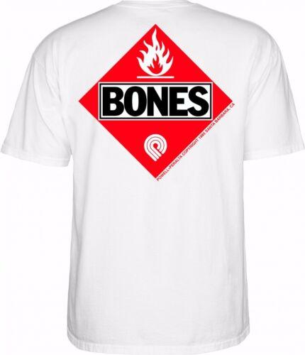 Powell Peralta BONES FLAMMABLE Skateboard Shirt WHITE MEDIUM