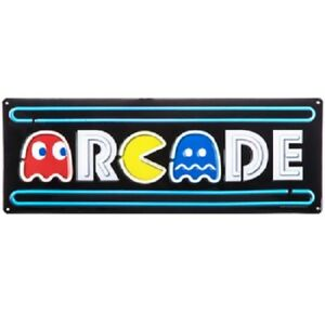ARCADE-Embossed-Metal-Sign-Vintage-Gaming-Pac-Man-Man-Cave-Home-Wall-Office