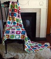 Hand Crochet Granny Square Baby Blanket /tablecloth 40sq/100cmsq 100% Cotn