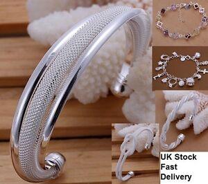 UK-Stock-Free-P-amp-P-Amazing-Valentine-039-s-Gift-Silver-Plated-Bangle-Bracelet