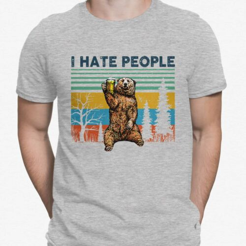 I Hate People Bear Camping Beer Drinking Retro T-shirt for Men100/% Cotton