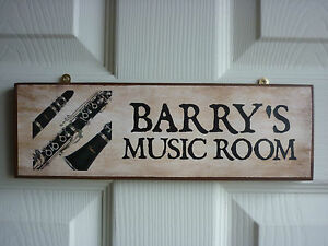 MADE-TO-ORDER-MUSIC-ROOM-SIGN-CLARINET-SHEET-MUSIC-STAND-REED-WOODEN-SIGN-PLAQUE