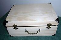 Unfinished Large Wood Craft Suitcase Trinket Storage Box Pet Urn 11 3/4 X 8.5/8