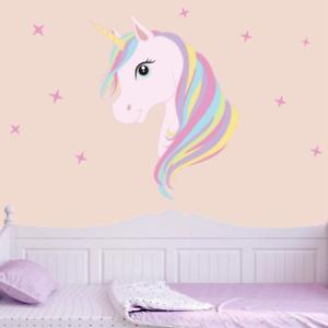 Cute Unicorn Bling Stars Wall Decal Sticker Girls Kids Bedroom