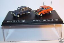 COFFRET ATLAS DUO 2 METAL UH RENAULT R16 R 16 TL 1969 BLEU EUROPE 1 1969 HO 1/87