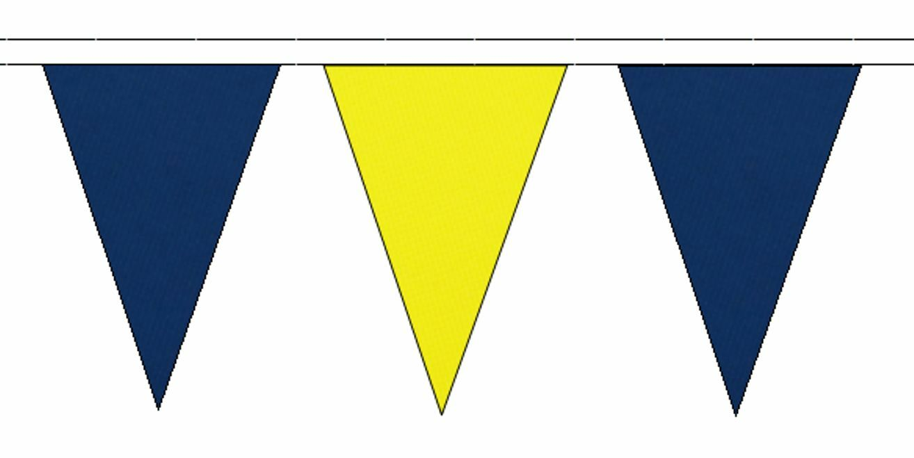 Royal bluee & Yellow Triangular Flag Bunting - 20m with 48 Flags