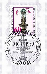 Rfa 1980: Cologne Dom Nº 1064 Avec Propre Bonner Ersttags-cachet Spécial! 1a 156-rstempel! 1a 156fr-fr Afficher Le Titre D'origine