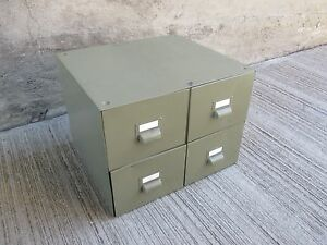 Image Is Loading Vintage Metal Card Catalog File Cabinet Four 4