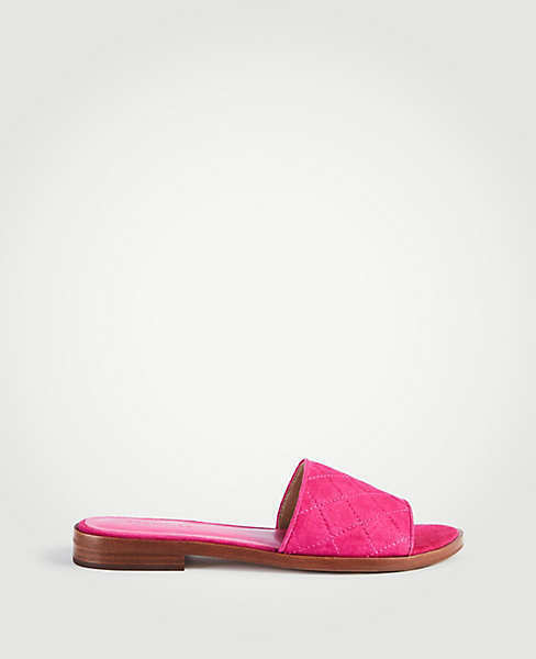 NWT Ann Taylor Lyra Suede Quilted Slide Sandals - Terracotta pink - Size 5.5