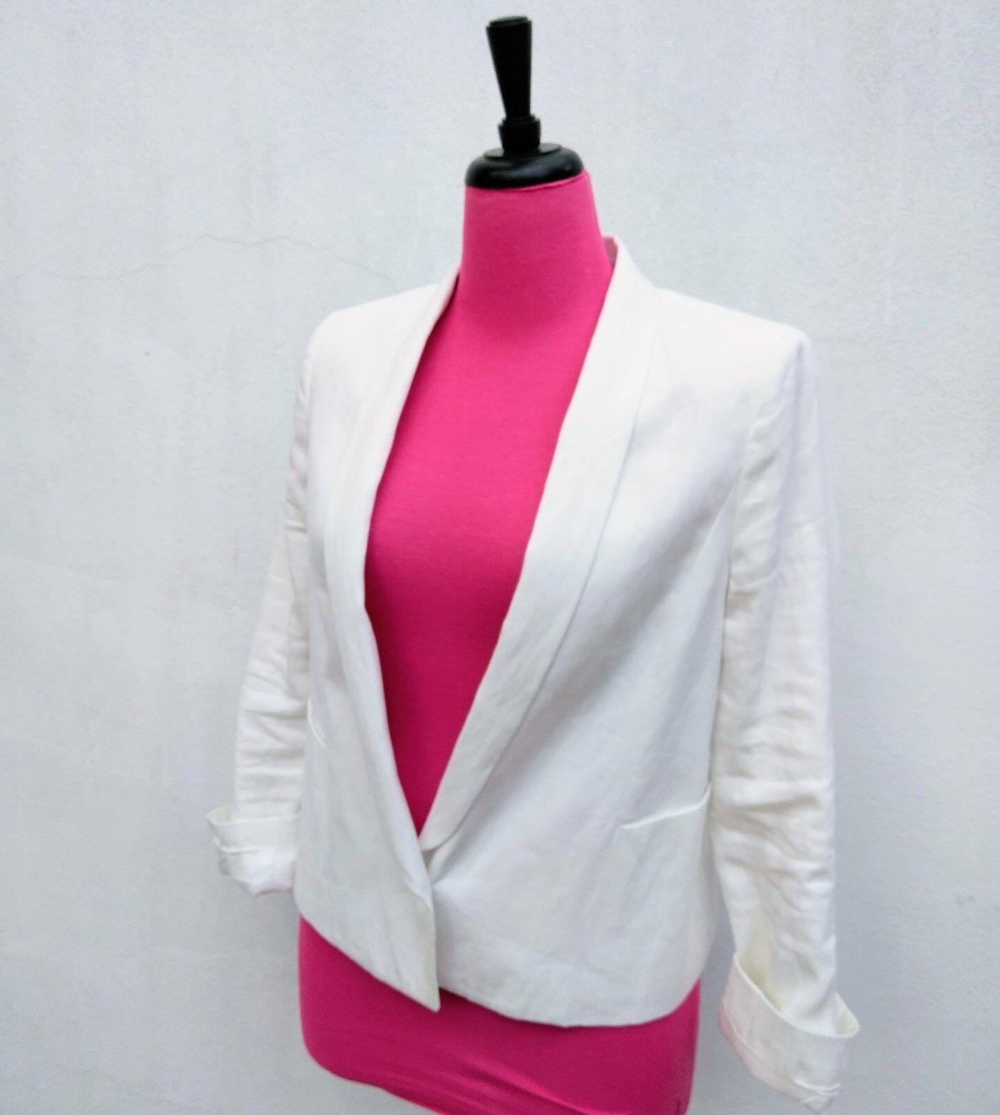 VINCE. Womens Womens Womens RUSTIC LINEN BLAZER WHITE Single Button Lapel Collar Cropped Sz.12 2a8b28