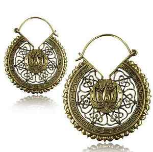 Pair lotus flower 2 inch long ornate brass plugs earrings gauges image is loading pair lotus flower 2 034 inch long ornate mightylinksfo
