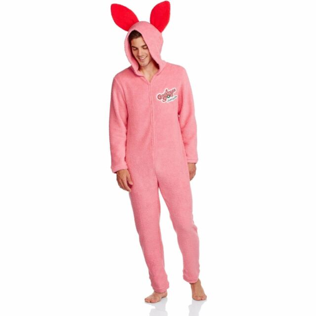 a christmas story ralphie pink bunny rabbit costume union suit pjs mens m new