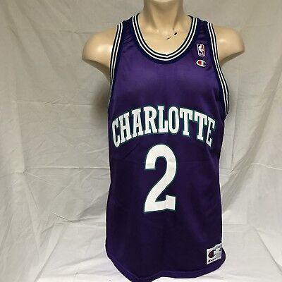 best sneakers 6a2a8 2c6bd VTG Larry Johnson Charlotte Hornets Champion Jersey 90s Purple NBA  Throwback 48   eBay