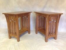 MISSION ARTS & CRAFTS HANDMADE END TABLE OAK WITH CUTOUTS, TENNONS, CORBELS