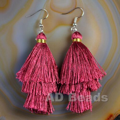 Fashion Charm Crystal Silk Tassel 3 Layers Fan Fringe Dangle Earrings
