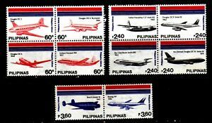 Philippines Airline 1986 Airplane 10 different complete set Mint NH