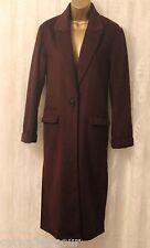 ASOS Wool Blend Flap Pockets Side Splits Relaxed Fit Long Coat Purple  8 36